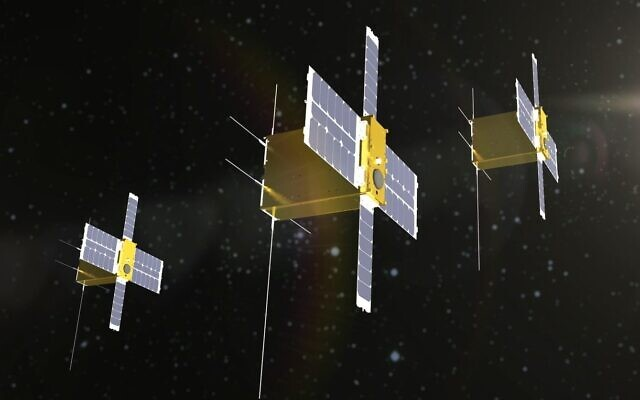 Pictured are nano satellites in formation. (Credit: IAI)