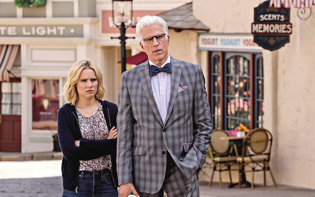 Kristen Bell as Eleanor, Ted Danson as Michael in The Good Place
