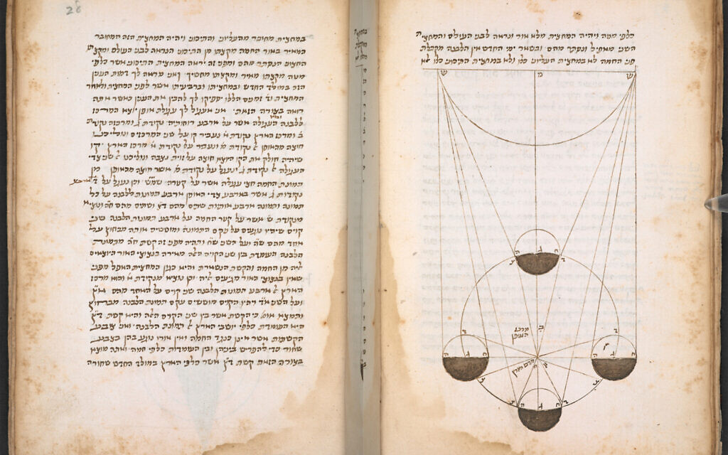 An illustrated copy of Abraham bar Hiyya's shape of the Earth, 15th century, Or 10721, credit British Library Board