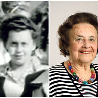 Lily Ebert pictured in the film reel taken in June 1945, and today.