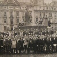 "Pictured in Prague, the group of Holocaust survivors, who later became known as ""the Boys"""