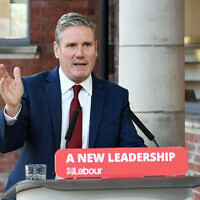 Labour leader Sir Keir Starmer delivers his keynote speech during the party's online conference from the Danum Gallery, Library and Museum in Doncaster.