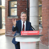 Labour leader Sir Keir Starmer delivers his keynote speech during the party's online conference