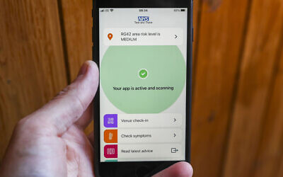The new NHS Covid-19 mobile phone application on an iPhone, after the app went live on Thursday morning.