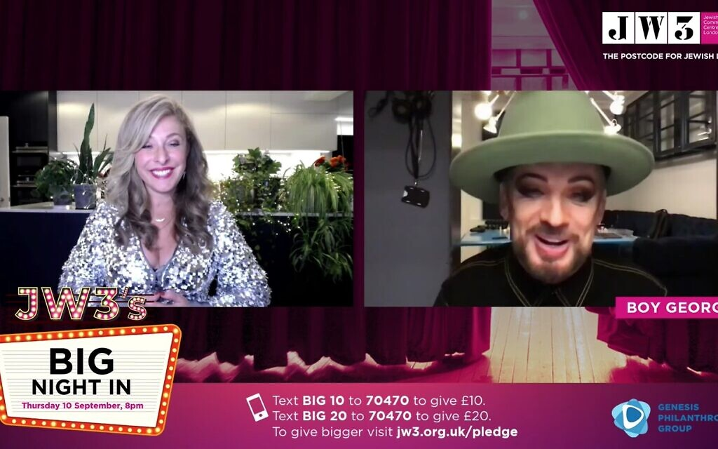 Tracy-Ann Oberman chats to Boy George during the Big Night In