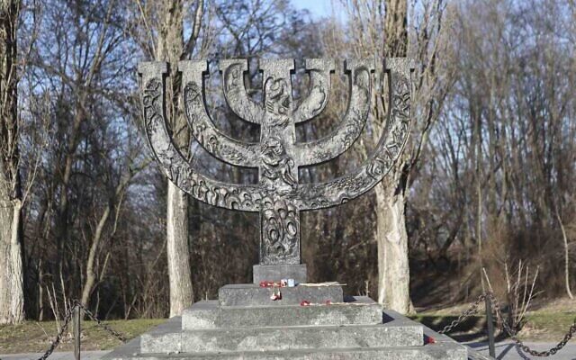 Menorah monument which currently stands at Babyn Yar (Babyn Yar Holocaust Memorial Center)