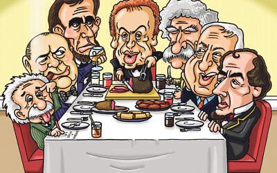 Abraham Lincoln, Winston Churchill, Albert Einstein, Mark Twain, Ariel Sharon, and Benjamin Disraeli would be at Jackie's dinner table. (Cartoon by Paul Solomons)