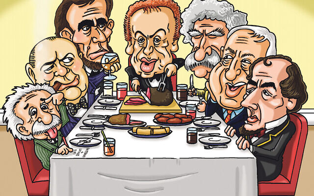 Abraham Lincoln, Winston Churchill, Albert Einstein, Mark Twain, Ariel Sharon, and Benjamin Disraeli would be at Jackie's dinner table. (Cartoon by Paul Solomons)