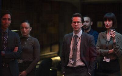 Criminal UK S2. Picture shows: (L-R) Kyle Petit (SHUBHAM SARAF), Vanessa Warren (ROCHENDA SANDALL), Tony Myerscough (LEE INGLEBY), Jamie Reiss (AYMEN HAMDOUCHI) and Natalie Hobbs (KATHERINE KELLY)