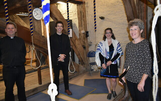 Far left: Canon Kevin Walton, Rabbi Adam Zagoria-Moffet, Talya Baker and  Debbie Harris in the Church's belltower.