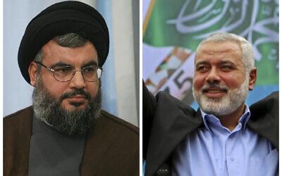 Hezbollah chief Hasan Nasrallah (l) Hamas leader Ismail Haniyeh (r)