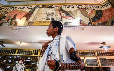 A participant on UJIA's Israel Bar and Bat Mitzvah Programme celebrates his Bar Mitzvah in Kiryat Bialik last month (Photo: Neil Mercer)