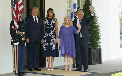 United States President Donald J. Trump and first lady Melania Trump welcomes Prime Minister Benjamin Netanyahu of Israel, and his wife Sara, to the White House in Washington, DC on Tuesday, September 15, 2020. Netanyahu is in Washington to sign the Abraham Accords, a peace treaty with the State of Israel. Credit: Chris Kleponis / Pool via CNP | usage worldwide