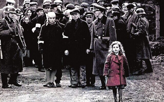 Iconic scene in Schindler's List, featuring a girl in her red coat