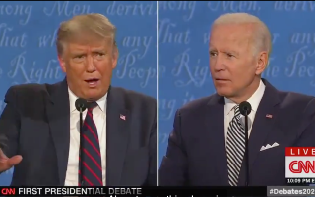 Screenshot from Twitter showing President Trump debating Joe Biden during a presidential debate.