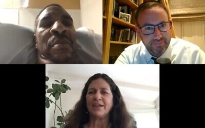 Rabbi Yoni Golker speaks with Denise (bottom) in conversation with Ronnie Fields, in a video focusing on forgiveness for the High Holy Days