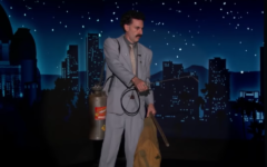 "Sacha Baron Cohen as Borat Sagdiyev on ""Jimmy Kimmel Live,"" Oct. 19, 2020. (Screen shot from YouTube)"