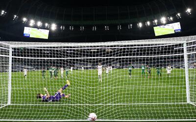 Tottenham Hotspur's Harry Kane scores his side's fifth goal against Maccabi Haifa, at the Tottenham Hotspur Stadium, London. (PA Wire/PA Images)