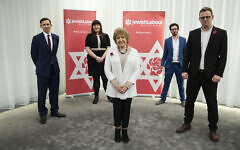 (back row left to right) Chair Mike Katz, Ruth Smeeth, Campaigns Officer Adam Langleben, (front row) Margaret Hodge and National Secretary Peter Mason, during a press conference by the Jewish Labour Movement at the offices of Mishcon de Reya in London, following the publication of damming anti-Semitism report by the Equality and Human Rights Commission (EHRC).