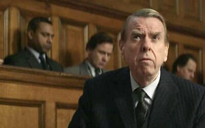 Timothy Spall as Holocaust denier David Irving in the 2016 film Denial, based on Deborah Lipstadt's book History on Trial: My Day in Court with a Holocaust Denier.