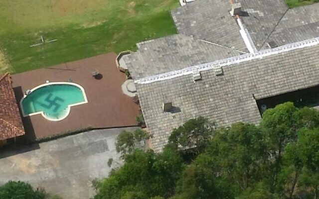 A view of the infamous swastika pool in Santa Caterina, Brazil. (Santa Catarina Civil Police via JTA)