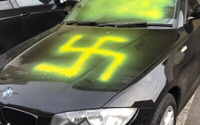 Swastika daubed on a car in Bristol (Credit: Nick Helfenbein)