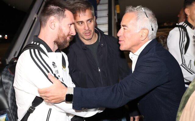 Sylvan Adams meeting Lionel Messi