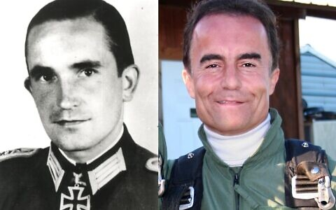 Bernd Wollschlaeger grew up believing his father Arthur (left) was a war hero, but then learned the uncomfortable truth, converted to Judaism and joined the IDF