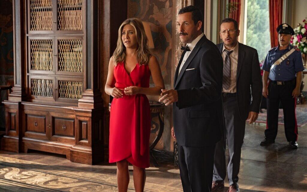 Jennifer Aniston as Audrey Spitz and Adam Sandler as Nick Spitz in MURDER MYSTERY