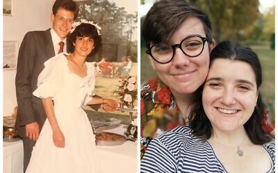 On the left, Andrew and Ruth's first wedding day. On the right Helen Goldhill and Lucie Spicer are a mixed faith couple who plan to marry under a chuppah next year