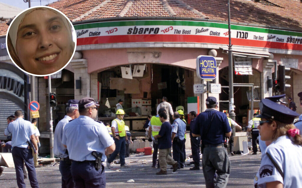 Aftermath of the Sbarro bombing in 2001, with a smiling Ahlam Tamimi
