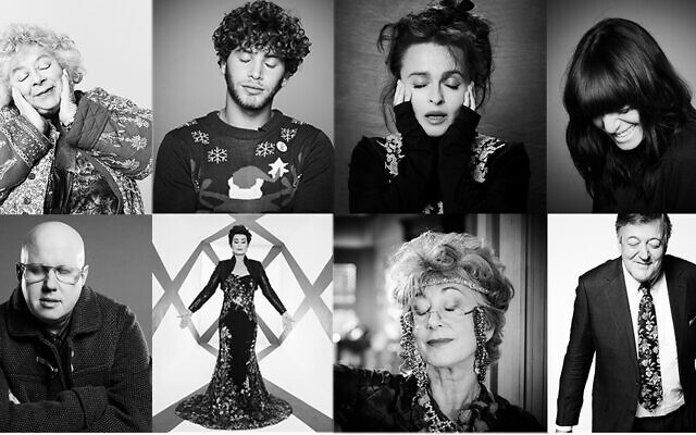 Some of the Jewish celebrities featured in the campaign. Top - L-R: Miriam Margolyes, Eyal Booker, Helena Bonham-Carter, Claudia Winkleman. Bottom: L-R: Matt Lucas, Sharon Osborne, Dame Maureen Lipman and Stephen Fry