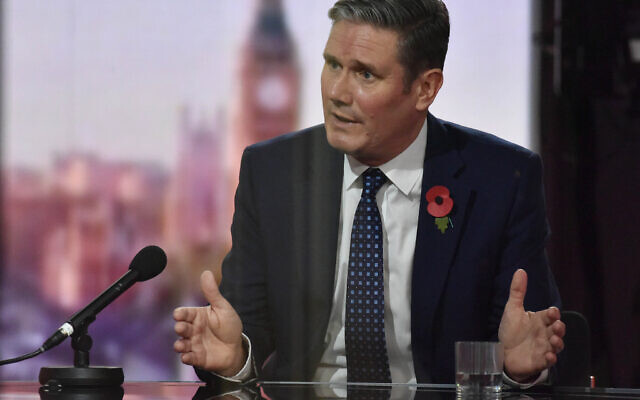 Labour Party leader Sir Keir Starmer appearing on the BBC1 current affairs programme, The Andrew Marr Show.
