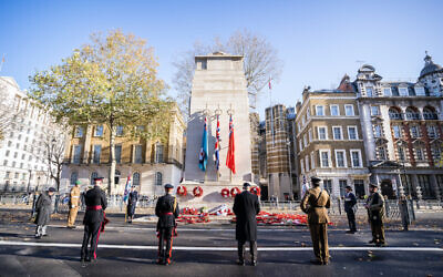 AJEX (Association of Jewish ex-Service Men & Women) photo  showing a small socially distanced ceremony at the Cenotaph on Whitehall in London, to honour fallen Servicemen and women and mark the 86th annual AJEX parade. (Credit: PA Media/AJEX)