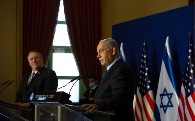 Israeli Prime Minister Benjamin Netanyahu during a meeting in Jerusalem with Mike Pompeo.   Photo by: Maya Alleruzzo, Pool Via JINIPIX