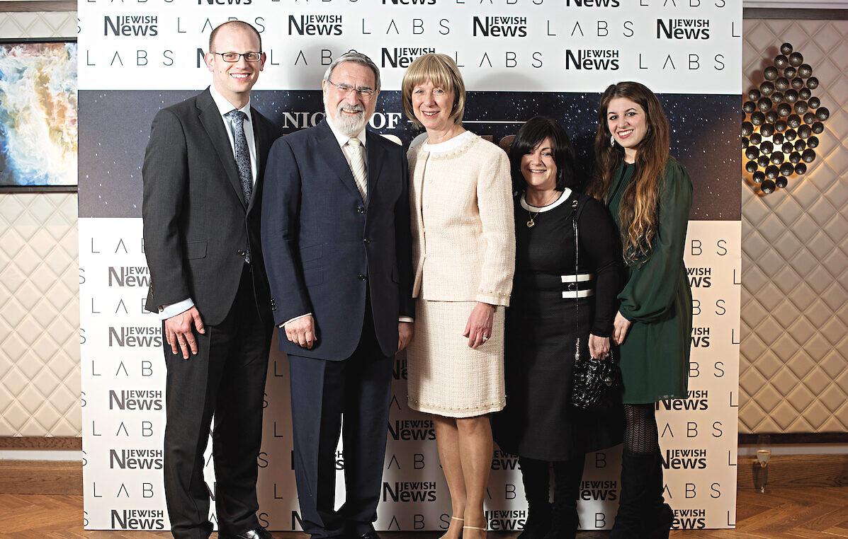 Rabbi Lord Sacks and wife Elaine with (from left) Dan Sacker, Joanna Benarroch and Debby Ifield, at The Jewish News Night of Heroes ((C) Blake Ezra Photography Ltd.)