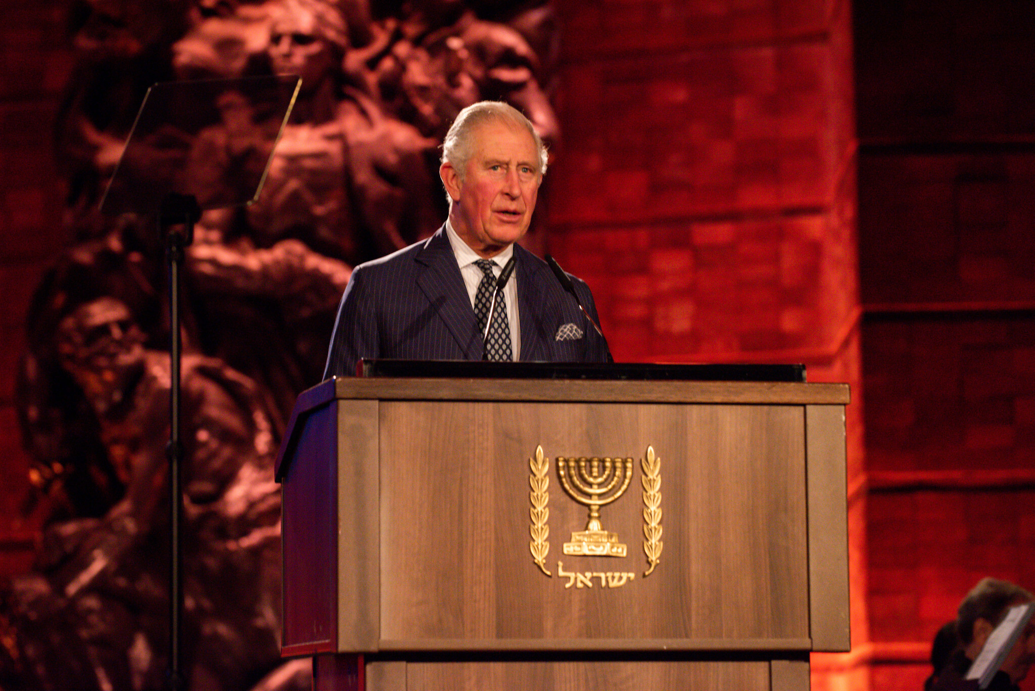 HRH Prine of Wales during his speech at the Yad Vashem Holocoust Forum, January 2020. Credit: Ben Kelmer