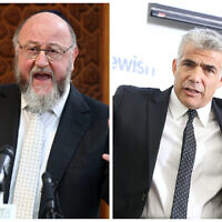 Chief Rabbi Mirvis and Yair Lapid