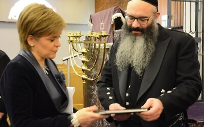 Rabbi Moshe Rubin of Giffnock (right) with Scotland's First Minister Nicola Sturgeon