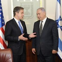 Blinken meets with Israeli Prime Minister Benjamin Netanyahu in Jerusalem on June 16, 2016 (Wikipeida/ Source:  https://www.flickr.com/photos/statephotos/27708990885/ Author	U.S. Department of State from United States)