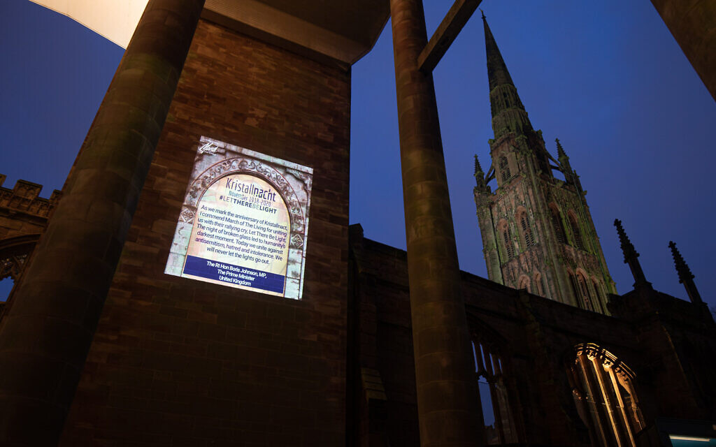 Message of commemoration from Boris Johnson at Coventry Cathedral (Credit: Sam Churchill)