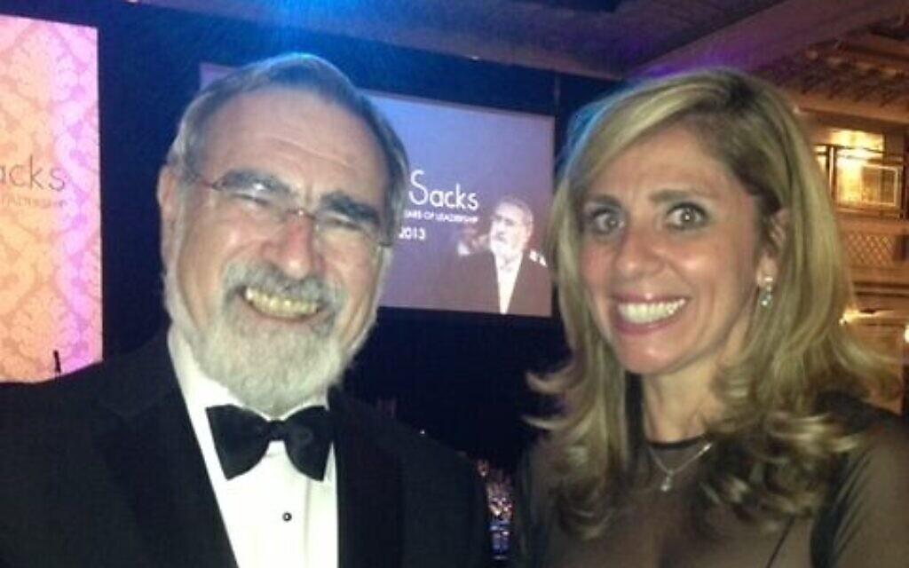 Lady Nicola Mendelsohn with former chief rabbi Lord Sacks