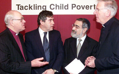 Gordon Brown joined by religious leaders for a meeting about child poverty, during his time as Chancellor. He is pictured with Dr. George Carey, former Archbishop of Canterbury (L), former Chief Rabbi, Jonathan Sacks and  former Archbishop  of Westminster, Cormac Murphy O'Connor.