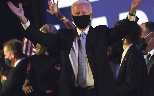 Joe Biden celebrates his election to the presidency after a victory speech outside the Chase Center on Riverfront Saturday evening.  News Biden Victory Speech (Photo by William Bretzger/USA Today Network/Sipa USA)