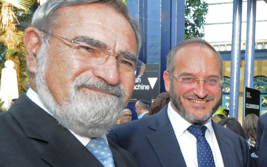Rabbi Schiff with Rabbi Lord Sacks at the AISH 20 Anniversary Dinner (Credit: John Rifkin)