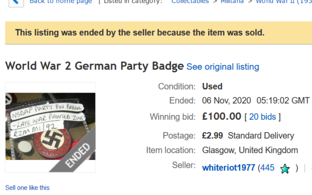 Nazi badge on sale - flagged to eBay