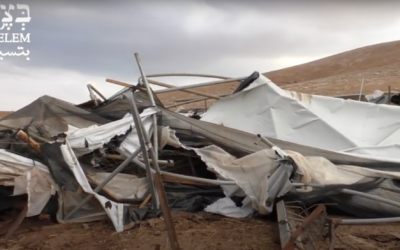 Screenshot from Youtube video by BTselem, of the demolition