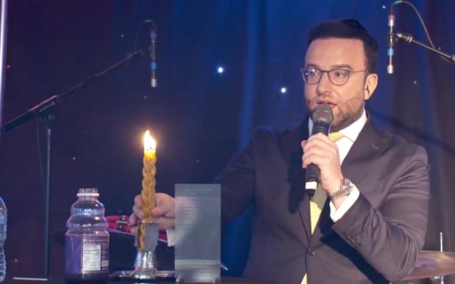 Screenshot of Rabbi Benjy Morgan during Havdallah Live in memory of Lord Sacks