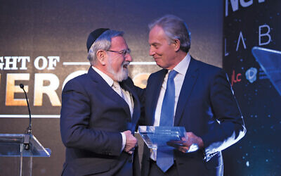 Former Chief Rabbi, Lord Sacks, being honoured by his friend Tony Blair at Jewish News Night of Heroes. (Blake Ezra Photography Ltd.)