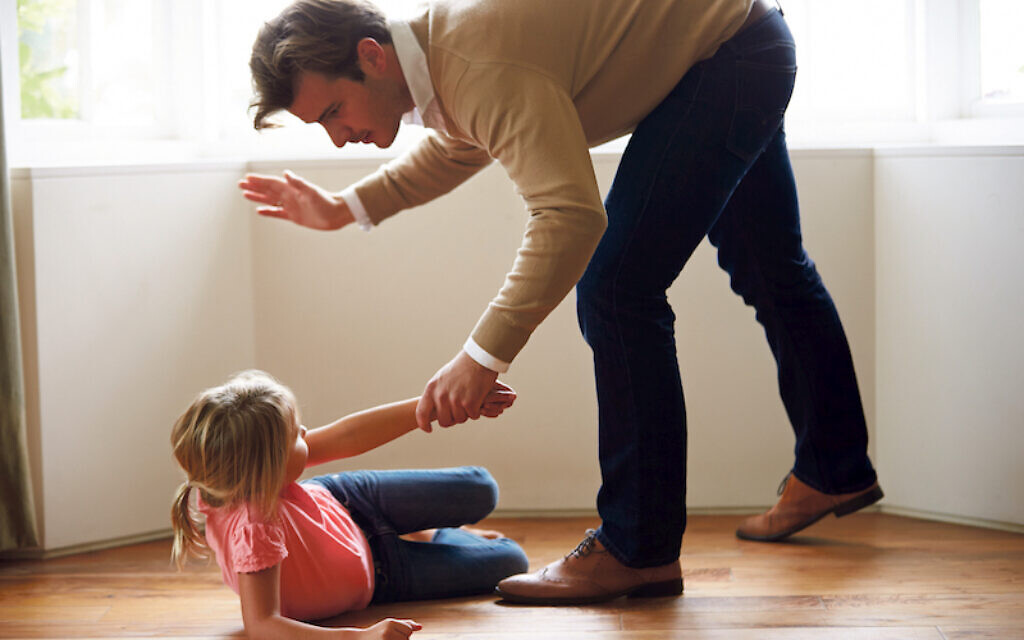 Father Hitting Naughty Misbehaved Young Daughter